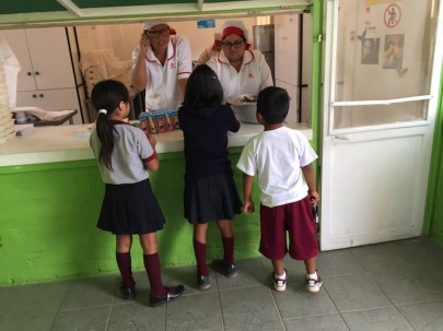 Getting morning snack from JUNAEB school feeding program