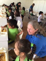 Jen chatting with the kids at lunch